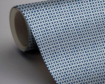 Mexican Dot to Dot Wallpaper in Indigo Blue  Removable Vinyl Wallpaper - Peel & Stick - No Glue, No Mess