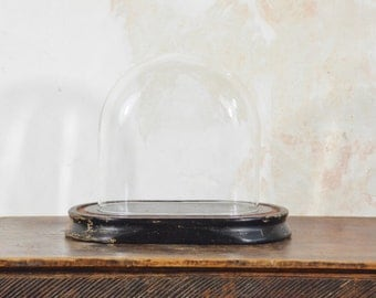 Bell Dome vintage wooden base and glass