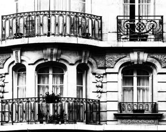Paris Windows Photo, Paris Art Print, Black and White Art, Window Sepia Print Wall Art, Paris Architectural Art Photography Art Deco Picture
