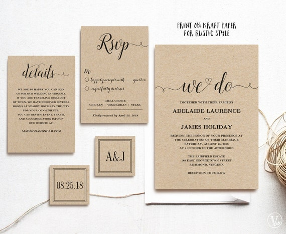 Impeccable image in printable rustic wedding invitations