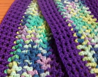 "Colorful Crocheted Scarf (50"" X 7"")"