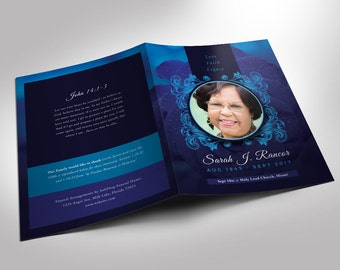 Blue Rose Funeral Program Word 2013 Template (8 pages) 5.5x8.5 Folded