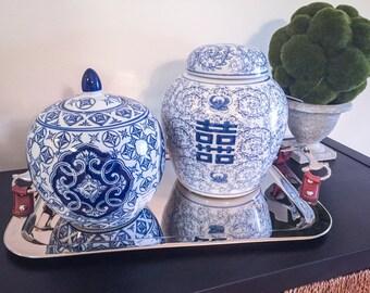 Stunning Oriental Inspired Blue and White Ginger Jar!