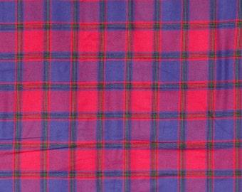 Pink & Purple wool/cotton blend plaid fabric