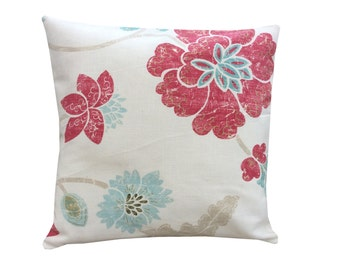 Stunning hand made cushion cover/pillow case designers guild fabric cream cerise pink duck egg floral/flowers home,kitchen,bedroom,sofa