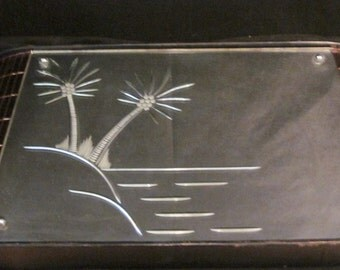 Art Deco Curved Mirror with Palm Trees and Peach Mirrored Tile