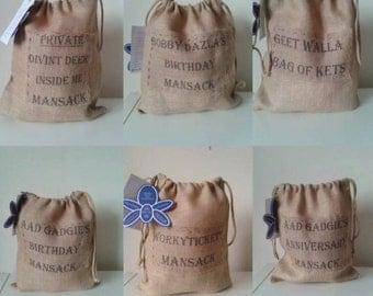 Geordie Themed Mansacks, gift sacks for men. Postage included.