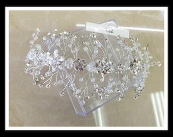 Clear Glass Bridal Hair peice #132