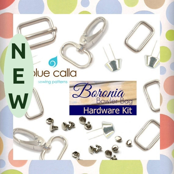 Hardware Kit for Boronia Bowler Blue Calla Pattern, Nickel Finish, Purse Handbag Bag Making Hardware Supplies, KIT-AA020