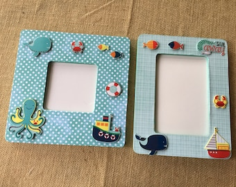 Picture frames/ nautical frames/ nautical/ frames/ gift for baby/ shower gift/ mommy gift/ nautical decor/nursery decor/baby gift/baby decor