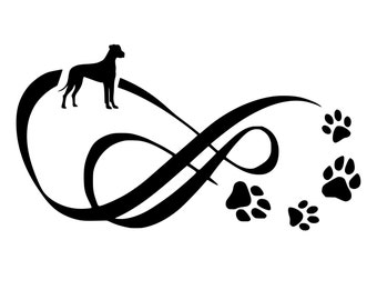 Great Dane Infinity With Paw Prints Die-Cut Decal Car Window Wall Bumper Phone Laptop
