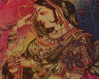KK Art Silk Saree Multi Color Digital Printed Sari Craft Fabric