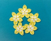Plumeria Set of 5 Yellow crochet flowers Applique decorative flowers Flower embellishment