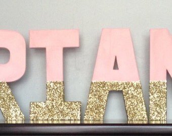 Birthday letters.  Custom letters. Name letters.  First birthday letters. Birthday photo prop. Pink and gold letters.