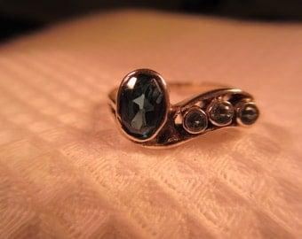 Trendy Sterling Silver Blue Gemstone CZ Ring - 8