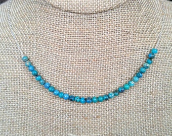Turquoise and Sterling Silver Necklace or Gold Filled Necklace NBJ310 Rose Gold Necklace