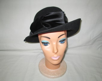 Vintage 1940's Black Wool Hat large satin ribbon and velvet with satin bow turned up brim 100% wool