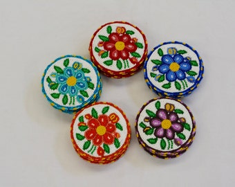 Flower Beaded Coasters (Set of 4)