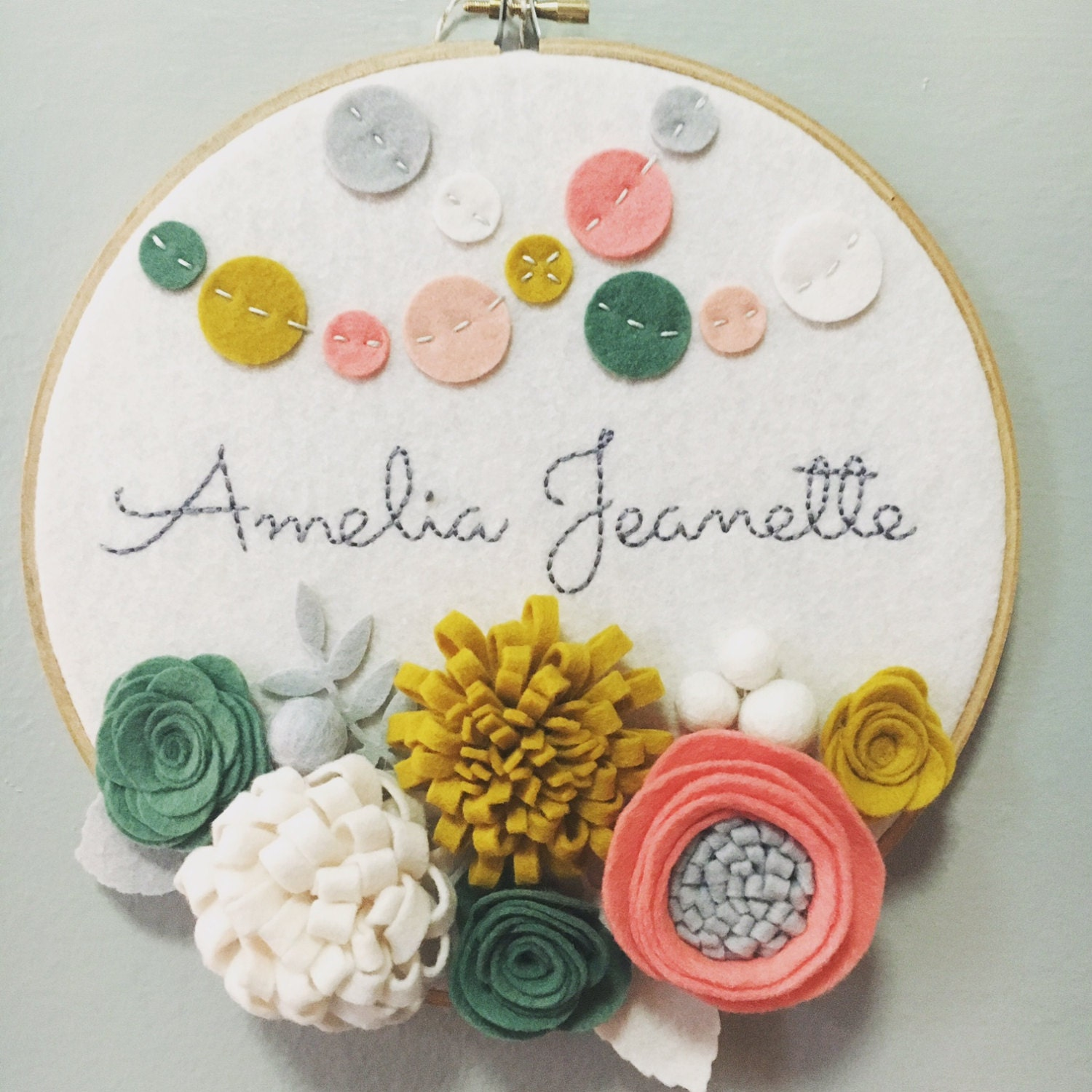 Custom embroidery hoop art wall baby shower gift by