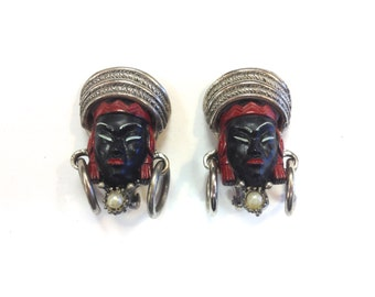 40s Selro Selini Asian Enamel Clip Earrings