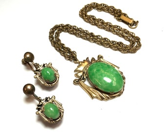 40s Peking Glass Jewelry Set | Gold Pendant Necklace Earrings