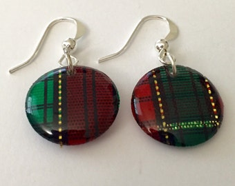 Plaid Earrings/Scottish Plaid Bead Earrings/Plaid Bead Earrings/Outlander Plaid Earrings