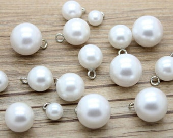 Vintage Pearl Buttons,Classic White Metal Shank,White Shirt Button,White Bridal Buttons,P83