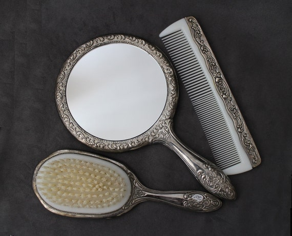 Vintage Vanity Set Silver Plated Brush Mirror and Comb Hair