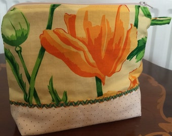 """Cosmetic Bag Yellow Flower Zip Opening Side pocket Inside Height 7"""" Width 8""""  Quiltsy Handmade FREE SHIPPING in UK"""