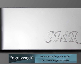 Engraved, Stainless Money Clip, Personalize, Your Initials, Custom made, custom engraving