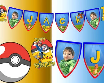 Birthday personalised Pokemon large banner any name and age
