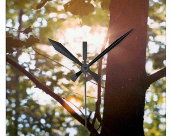 Photo Wall Clock - Sun through the Forest Photograph- square clock