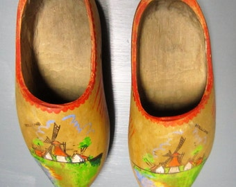 Dutch Wooden Shoes, Holland Shoes, Vintage, Dutch, Colorful Wood Shoes, Clogs