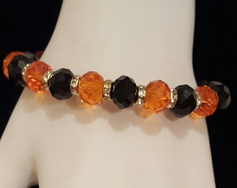 Halloween Black and Orange Crystal Bracelet, Free Shipping