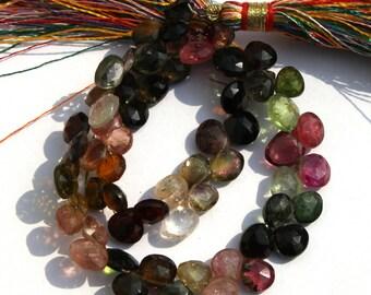 "Full 8"" 6 -8 mm 55 Pcs Natural Multi Tourmaline Faceted Heart Briolette / natural multi tourmaline gemstone beads"
