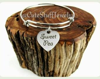 Sweet Pea Bracelet, Sweet Pea Bangle, Handmade Inspirational Jewelry, Sweet Pea Jewelry, Daughter Gift