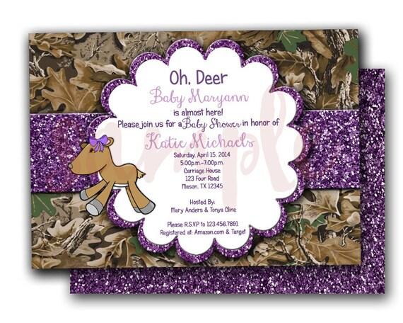 camo purple glitter oh deer baby shower invitations  camouflage, Baby shower invitations