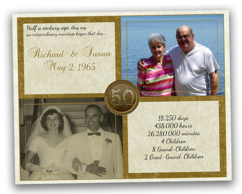 50th Golden Wedding Anniversary Gifts: Golden 50th Anniversary Gift 50th Wedding By PartyPrintExpress
