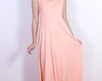 """1970s """"House of Bianchi"""" Maxi Coral Dress"""