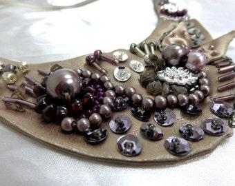 bead emboidery, smoky quartz, Garnet bib necklace, bib necklace