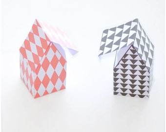 4x Christmas gift box - instant download - paper house boxes - 4 differently patterned designs - house template - black and white - gift box