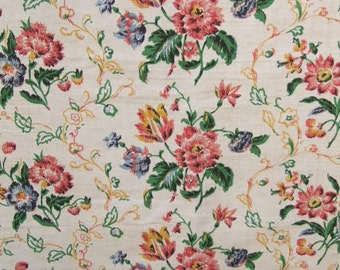 183cm length of vintage linen floral fabric, crafts, curtain