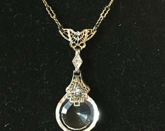 Art Deco filigree crystal necklace
