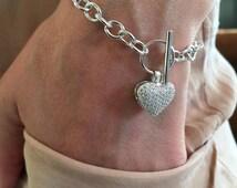 Heart bracelet, Cz silver heart bracelet, gift ideas, birthday gift, Friendship Bridesmaid Bracelet, pave heart bracelet, gift for her