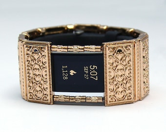 FitBit Charge 2 Band Cover Bracelet: Gold Lallybroch with Window