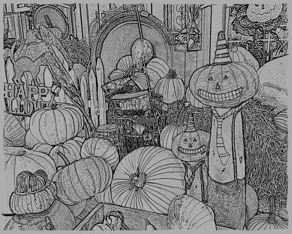 Pumpkin fun 1 adult coloring pages printable gray scale for Pumpkin coloring pages for adults