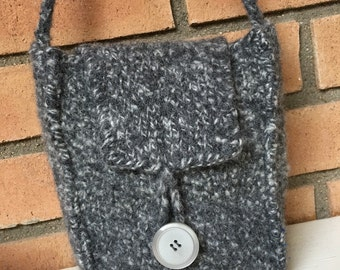 Gray Feltd Wool Handbag