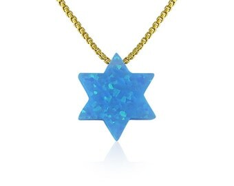Opal star of david necklace on a solid .925 sterling silver chain the perfect Jewish gift