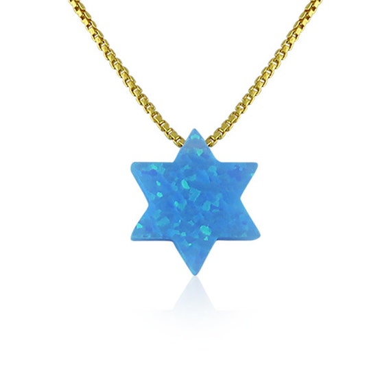 opal star of david necklace on a real solid sterling silver box chain the perfect Jewish gift