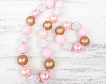 Pink and Gold Bubblegum Necklace, Princess Bubblegum Necklace, Baby Photo Prop, 1st Birthday Necklace, Sparkle Necklace, Pink Bracelet